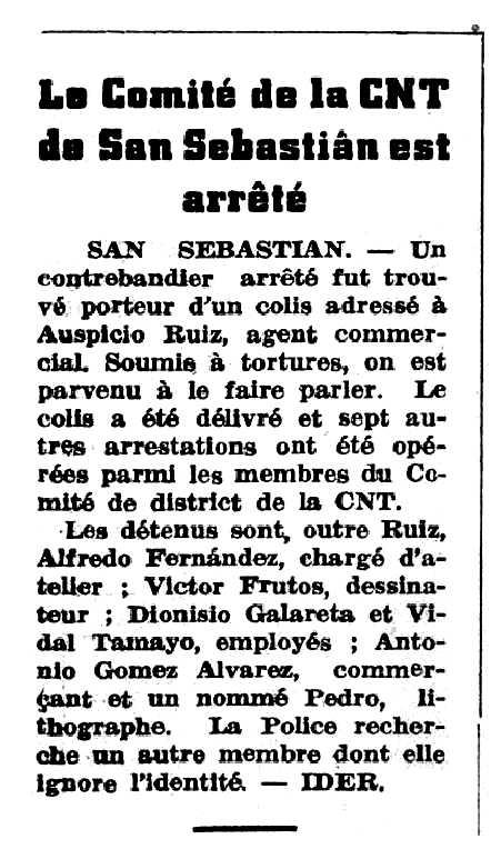 """Notícia de la detenció d'Alfredo Fernández Perea apareguda en el periòdic parisenc """"La Nouvelle Espagne"""" del 22 de febrer de 1947"""