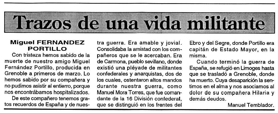 """Necrològica de Miguel Fernández Piñero apareguda en el periòdic tolosà """"Espoir"""" del 3 de maig de 1994"""