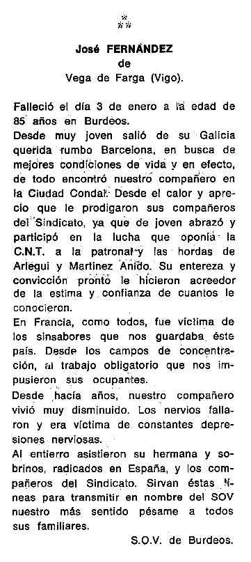 """Necrològica de José Fernández Valcarce apareguda en el periòdic tolosà """"Cenit"""" del 22 de març de 1988"""