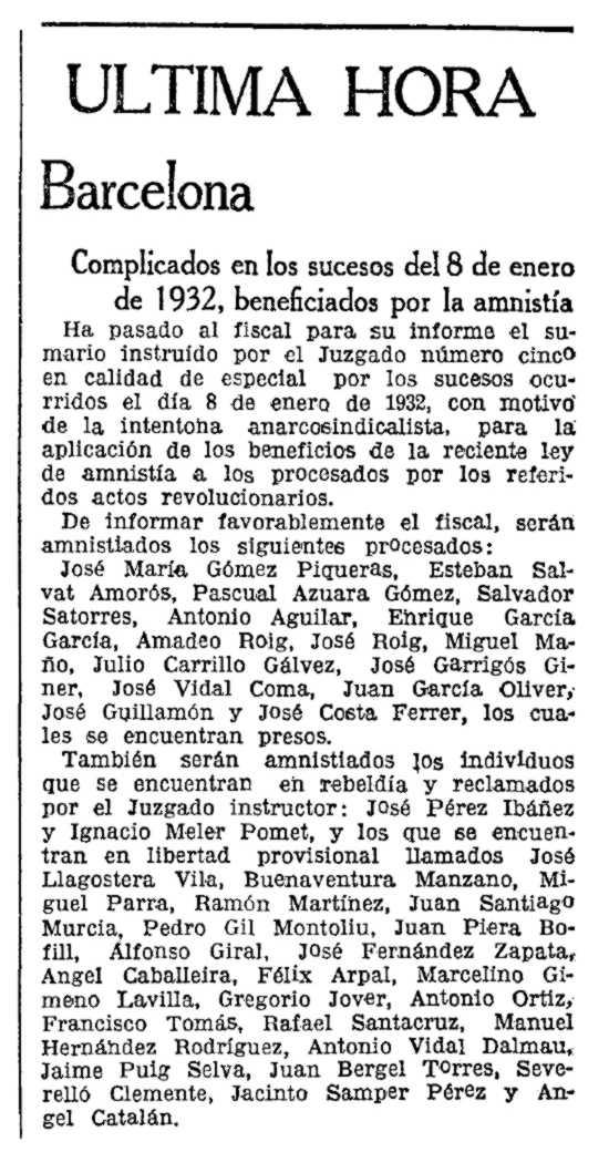 """Notícia de l'amnistia de José Fernández Zapata i d'altres companys apareguda en """"La Vanguardia"""" del 28 d'abril de 1934"""