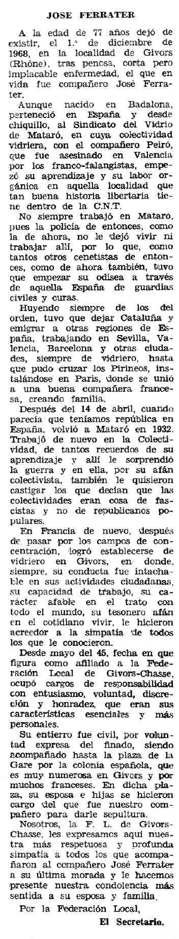 """Necrològica de Josep Ferrater Añó apareguda en el periòdic tolosà """"Espoir"""" del 23 de febrer de 1969"""