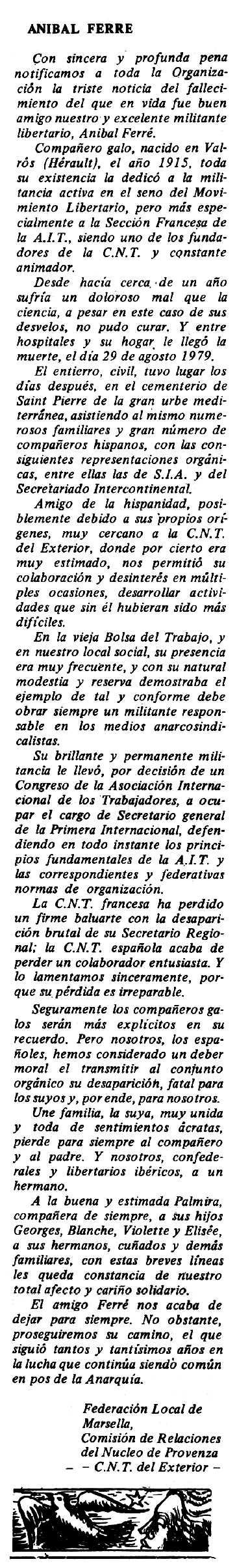 "Necrològica d'Anibal Ferré Gómez apareguda en el periòdic tolosà ""Espoir"" del 16 de desembre de 1979"