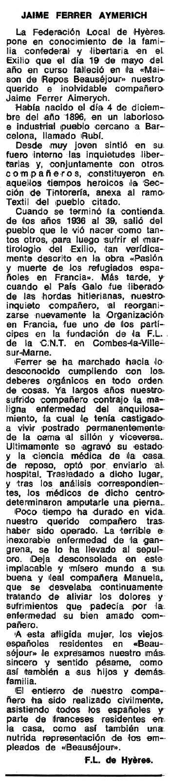 "Necrològica de Jaume Ferrer Aymerich publicada en el periòdic tolosà ""Espoir"" del 10 de juliol de 1978"