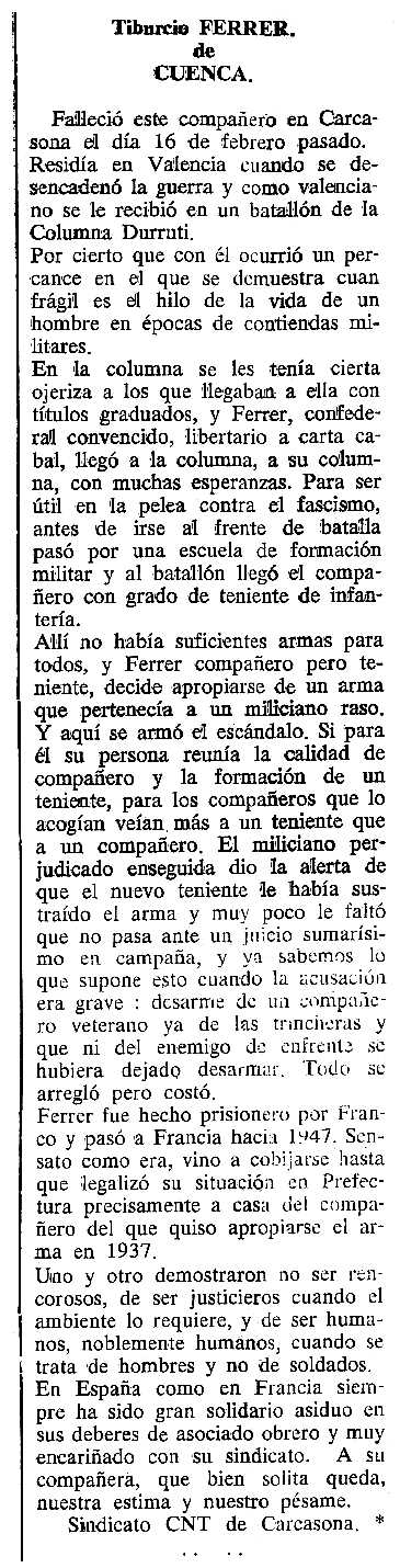"Necrològica de Tiburcio Ferrer Cano apareguda en el periòdic tolosà ""Cenit"" del 25 d'abril de 1989"