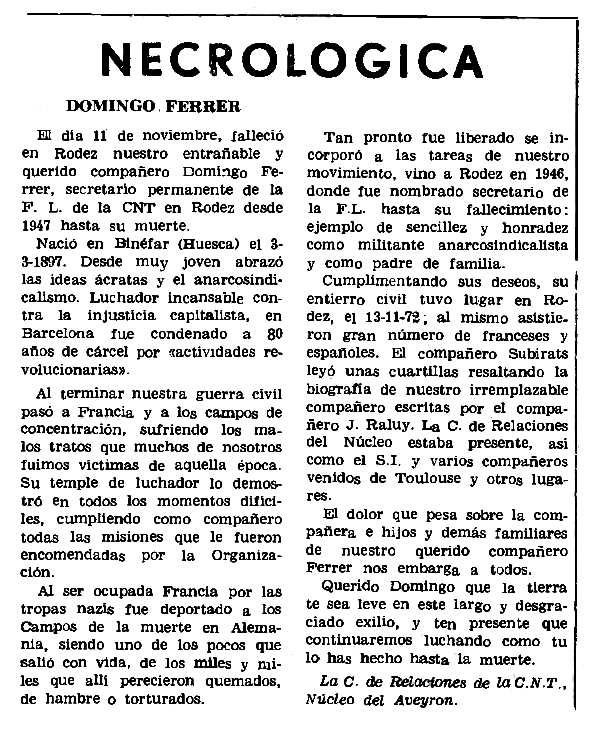 "Necrològica de Domingo Ferrer Chordi apareguda en el periòdic parisenc ""Le Combat Syndicaliste"" del 4 de desembre de 1972"