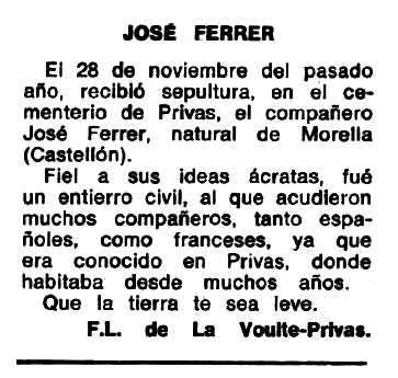 "Necrològica de Josep Ferrer Ferreres apareguda en el periòdic tolosà ""Espoir"" del 31 de març de 1968"