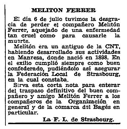 """Necrològica de Melitó Ferrer apareguda en el periòdic parisenc """"Solidaridad Obrera"""" del 2 d'agost de 195"""