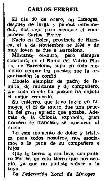 """Necrològica de Carlos Ferrer Rivarés apareguda en el periòdic parisenc """"Le Combat Syndicaliste"""" de l'11 de febrer de 1965"""