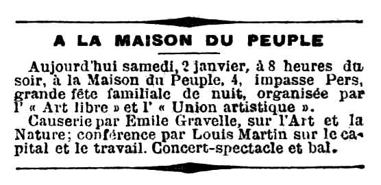 "Ressenya de la festa apareguda en el diari parisenc ""La Lanterne"" del 3 de gener de 1897"