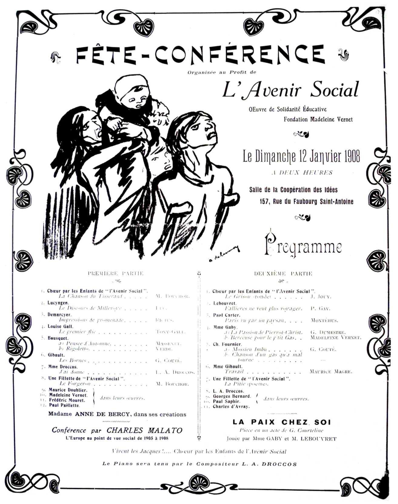 """Anunci de la Festa-Conferència pro """"L'Avenir Social"""""""