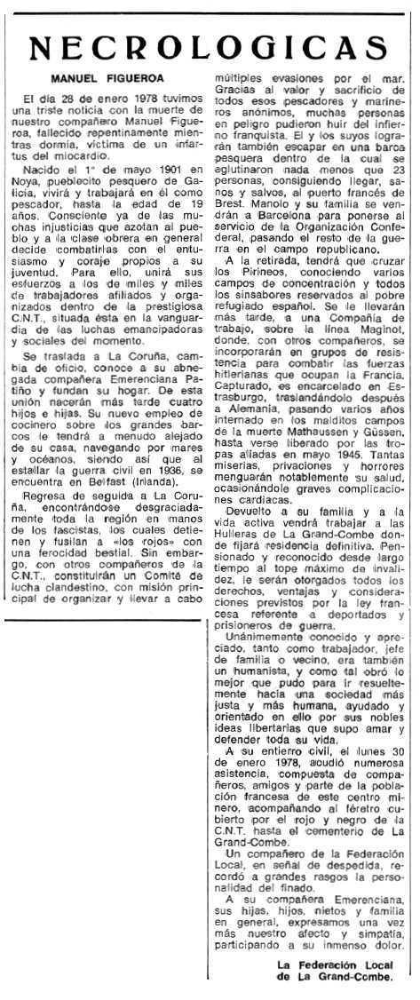 """Necrològica de Manuel Figueroa apareguda en el periòdic tolosà """"Espoir"""" del 15 de maig de 1978"""