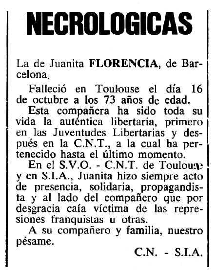 """Necrològica de Joana Florensa Vicent apareguda en el periòdic tolosà """"Cenit"""" del 27 de novembre de 1984"""