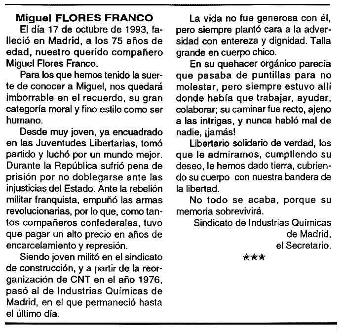 """Necrològica de Miguel Flores Franco apareguda en el periòdic tolosà """"Cenit"""" del 16 de novembre de 1993"""