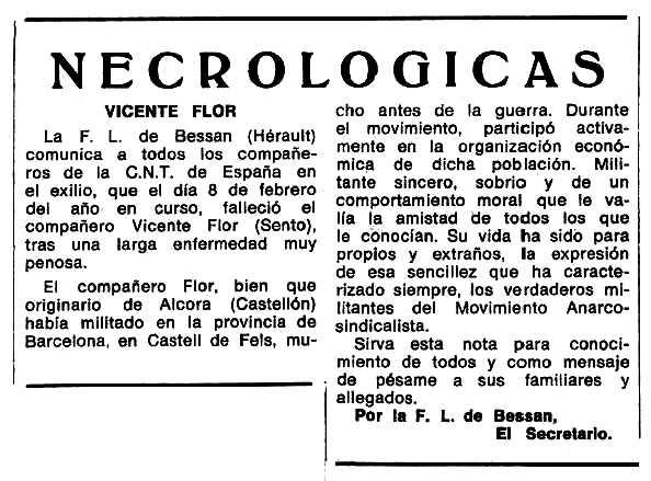 """Necrològica de Vicent Flor apareguda en el periòdic tolosà """"Espoir"""" del 18 d'abril de 1971"""