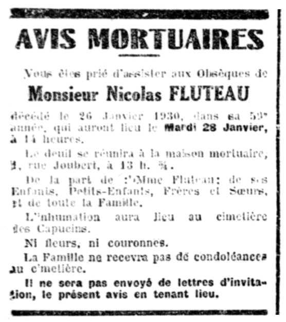 """Anunci del funeral de Nicolas Flûteau aparegut en el diari de Bourges """"La Dépêche de Berry"""" del 27 de gener de 1930"""