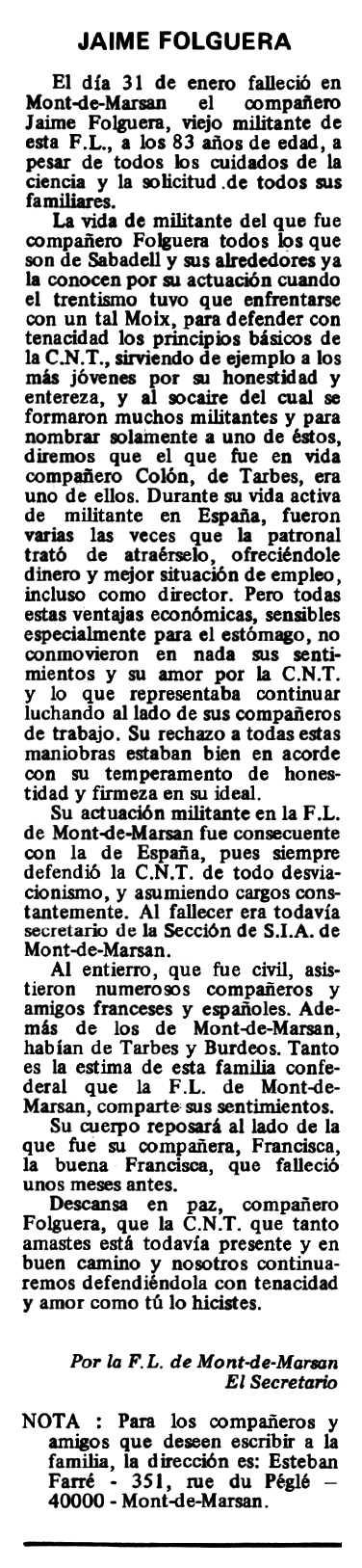 "Necrològica de Jaume Folguera Borda apareguda en el periòdic tolosà ""Espoir"" del 30 de març de 1980"