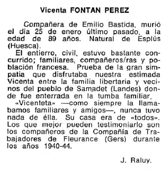 """Necrològica de Vicenta Fontán Pérez apareguda en el periòdic tolosà """"Cenit"""" de l'11 de juny de 1985"""