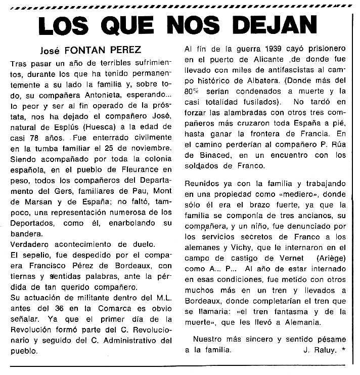 """Necrològica de José Fontán Pérez apareguda en el periòdic tolosà """"Cenit"""" del 6 de gener de 1987"""