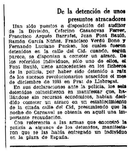 """Notícia de la detenció de Joan Font Bauló aparareguda en el diari barceloní """"La Vanguardia"""" del 5 de març de 1935"""