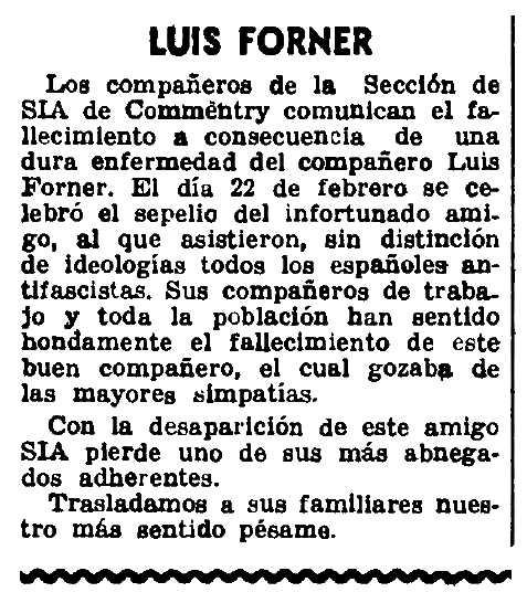 "Necrològica de Lluís Forner Amades apareguda en el periòdic parisenc ""CNT"" del 5 de març de 1950"