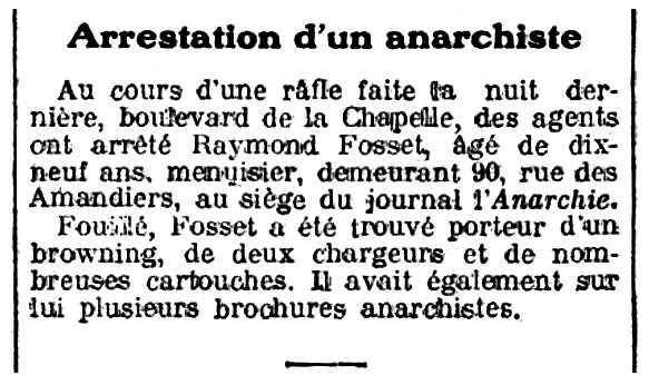 """Notícia de la detenció de Raymond Fosset apareguda en el diari parisenc """"Gil Blas"""" del 10 de febrer de 1913"""