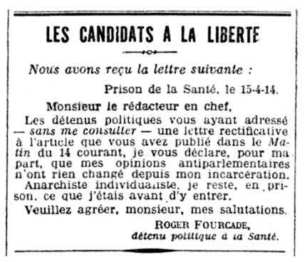 """Carta enviada per Roger Fourcade publicada en el diari parisenc """"La Matin"""" del 16 d'abril de 1914"""