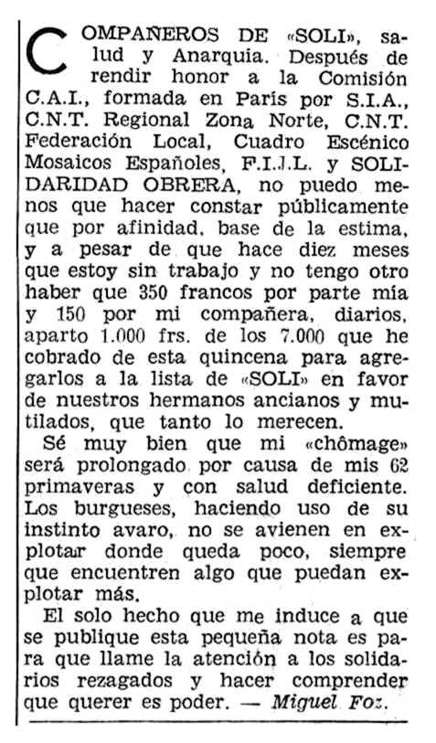 """Aportació solidària de Miguel Foz Bel apareguda en """"Solidaridad Obrera"""" de l'exili del 3 de desembre de 1959"""