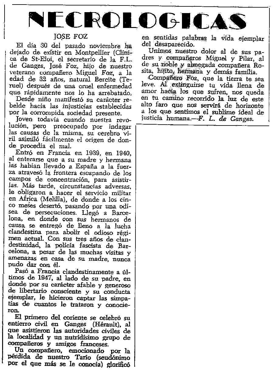 """Necrològica de José Foz apareguda en el periòdic tolosà """"CNT"""" del 23 de desembre de 1956"""