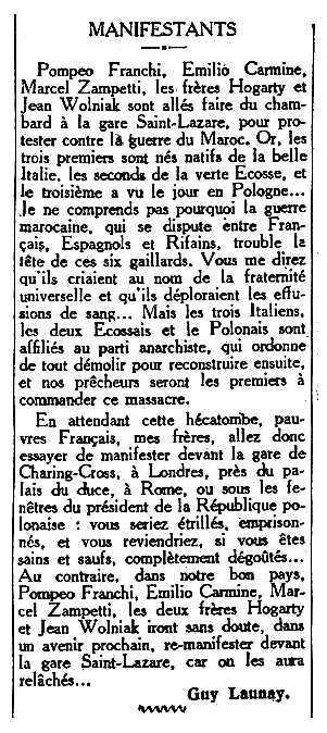 """Notícia de la detenció de Pompeo Franchi apareguda en el diari parisenc """"Le Matin"""" del 27 de setembre de 1925"""