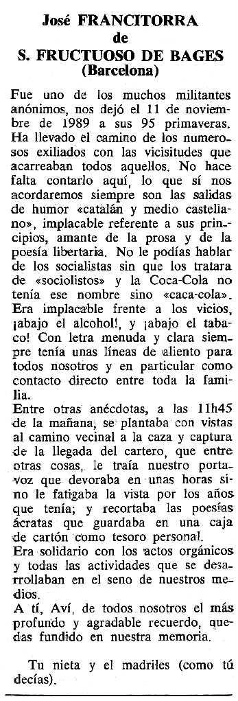 "Necrològica de Josep Francitorra apareguda en el periòdic tolosà ""Cenit"" del 12 de desembre de 1989"