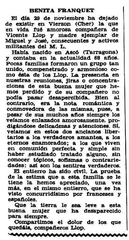 """Necrològica de Beneta Franquet apareguda en el periòdic tolosà """"CNT"""" del 13 de novembre de 1955 [El mes de la defunció és erroni]"""