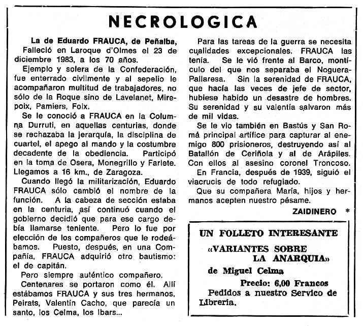"""Necrològica d'Eduardo Frauca Ferrer apareguda en el periòdic tolosà """"Cenit"""" del 10 de maig de 1983"""