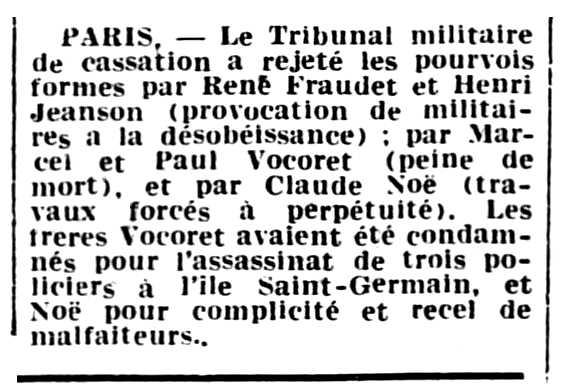 """Notícia sobre el rebut del recurs de cassació de René Fraudet apareguda en el periòdic parisenc """"L'Ouest-Éclair"""" del 12 de gener de 1940"""