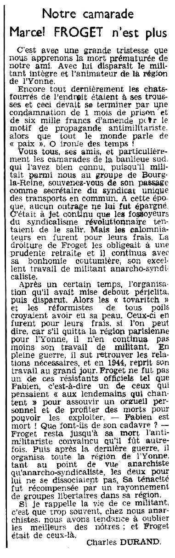 """Necrològica de Marcel Froget publicada en el periòdic parisenc """"Le Libertaire"""" del 8 de setembre de 1950"""
