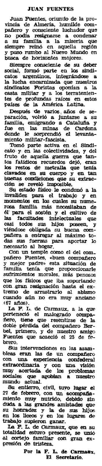 """Necrològica de Juan Fuentes Torres apareguda en el periòdic tolosà """"Espoir"""" del 12 d'abril de 1970"""