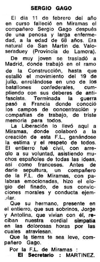 """Necrològica de Sergio Gago Rivero apareguda en el periòdic tolosà """"Espoir"""" del 31 de març de 1968"""