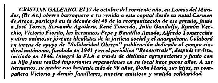 """Necrològca de Cristian Galeano apareguda en el periòdic de Buenos Aires """"El Libertario"""" de desembre de 1990"""