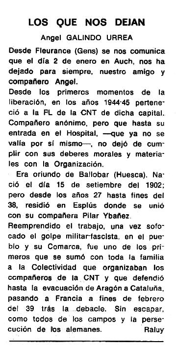 """Necrològica d'Ángel Galindo Urrea apareguda en el periòdic tolosà """"Cenit"""" del 12 de maig de 1987"""