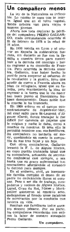 """Necrològica de Pedro Gallardo apareguda en el periòdic parisenc """"Le Combat Syndicaliste"""" del 20 de març de 1975"""