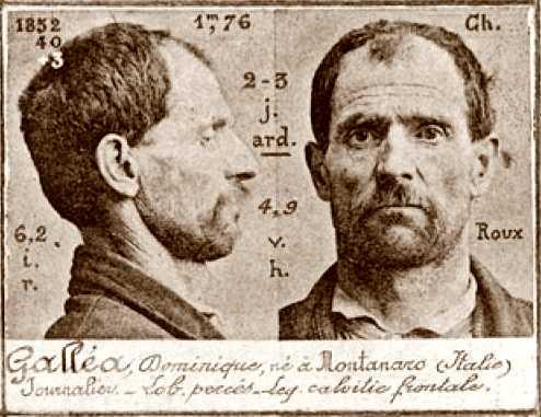 Foto policíaca de Domenico Gallea (ca. 1894)