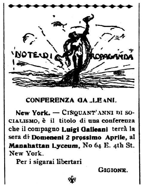 """Propaganda de l'acte apareguda en el periòdic de Barre """"Cronaca Sovversiva"""" de l'11 de març de 1911"""