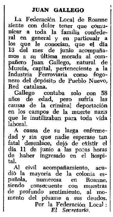 """Necrològica de Juan Antonio Gallego Bravo apareguda en el periòdic tolosà """"Espoir"""" del 23 d'octubre de 1966"""