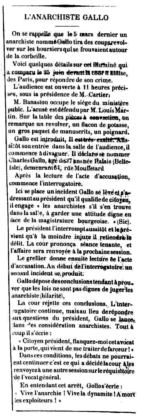 """Notícia sobre el judici de Charles Gallo aparegut en el diari algerià """"La Mahouna.  Journal de l'arrondissement de Guelma"""" del 18 de juliol 1886"""