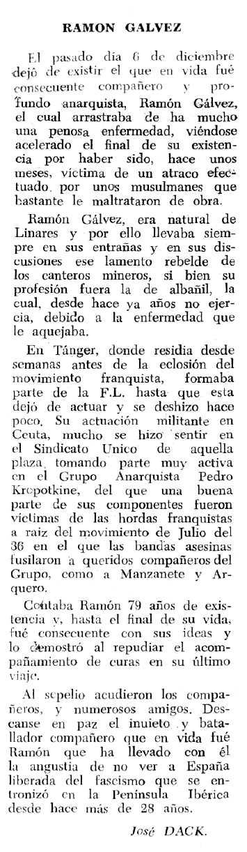 """Necrològica de Ramón Gálvez Fuentes apareguda en el periòdic tolosà """"Espoir"""" del 20 de febrer de 1966"""