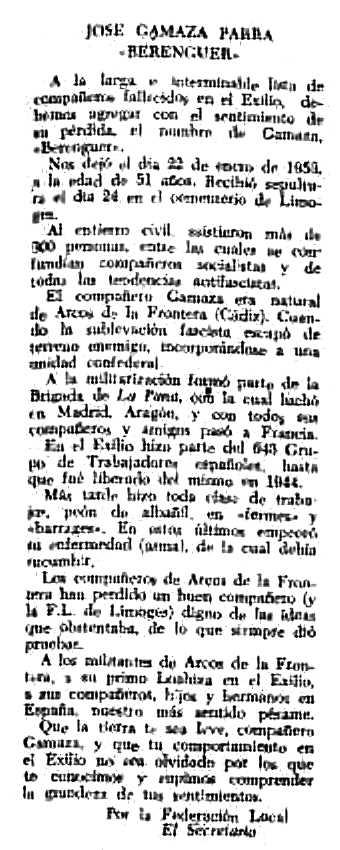 "Necrològica de José Gamaza Parra apareguda en el periòdic tolosà ""CNT"" del 22 de febrer de 1953"