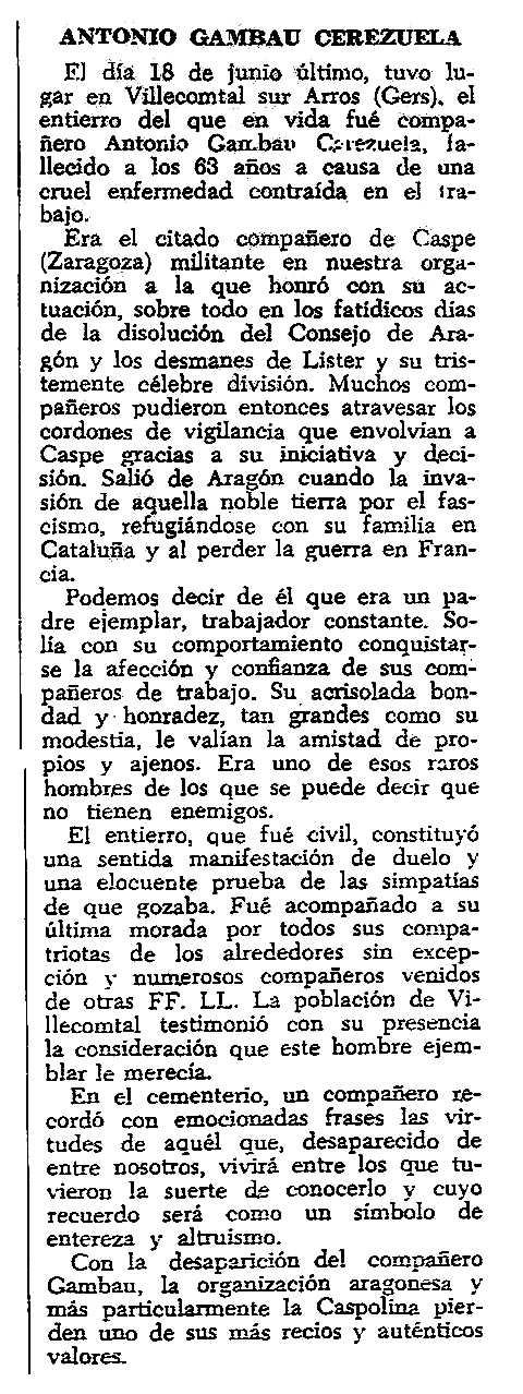 """Necrològica d'Antonio Gambau Cerezuela apareguda en el periòdic parisenc """"CNT"""" del 29 de setembre de 1957"""