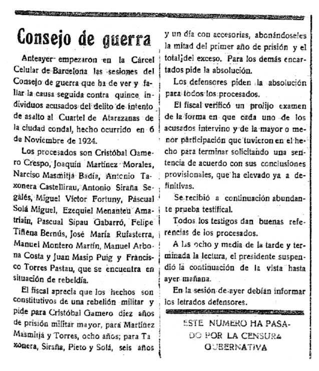 "Notícia del consell de guerra de Cristóbal Gamero Crespo apareguda en el periòdic reusenc ""Las Circunstancias"" del 12 d'agost de 1928"