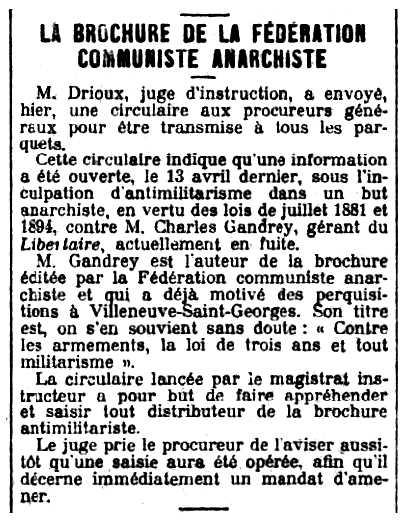 """Notícia del processament de Charles Gandrey publicada en el diari parisenc """"Le Petit Parisien"""" del 30 de maig de 1913"""