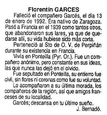 """Necrològica de Florentino Garcés apareguda en el periòdic tolosà """"Cenit"""" del 12 de maig de 1992"""