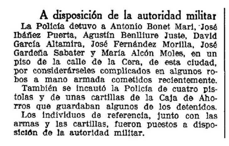 """Notícia de la detenció de David García Altamira publicada en """"La Vanguardia"""" del 29 de gener de 1935"""